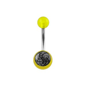Piercing barato Ombligo Acrílico Transparente Amarillo Espiral
