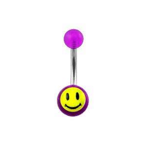 Piercing Nombril Acrylique Transparent Violet Smiley