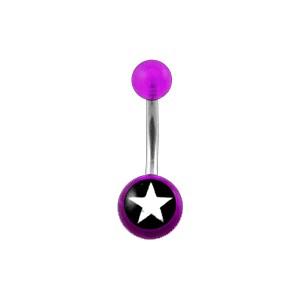 Piercing Nombril Acrylique Transparent Violet Etoile Blanche