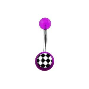 Piercing Nombril Acrylique Transparent Violet Damier