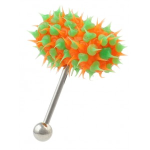 Piercing Vibrant Langue Vib-Bell Silicone Biocompatible Vert / Orange