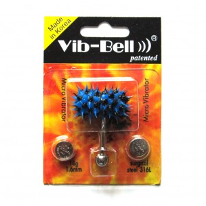 Blue / Black Biocompatible Silicone Vib-Bell Vibrating Tongue Ring