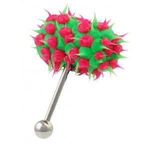 Piercing Vibrant Langue Vib-Bell Silicone Vert / Rose