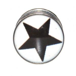 Plug Oreja / Lóbulo Acero Quirúrgico 316L Estrella Negro