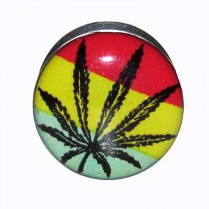 Plug Oreille / Lobe Acier Chirurgical 316L Cannabis