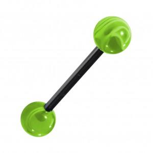 Transparent Marbled Green Acrylic Tongue Bar Ring