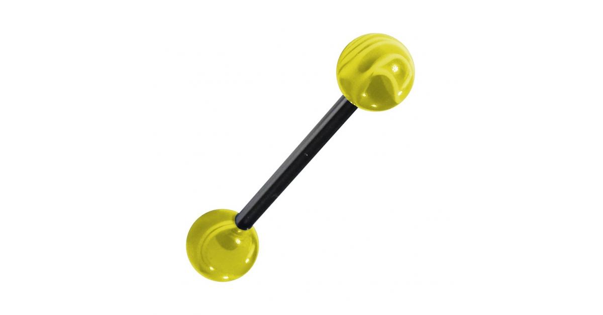 piercing langue acrylique jaune transparent marbr pas cher. Black Bedroom Furniture Sets. Home Design Ideas