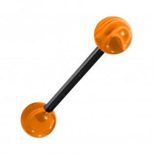 Piercing Langue Acrylique Orange Transparent Marbré pas cher
