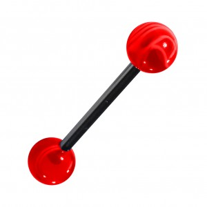 Transparent Marbled Red Acrylic Tongue Bar Ring