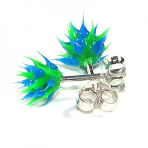 Blue / Green Silver Earrings Ear Pair Studs w/ Biocompatible Silicone Spikes