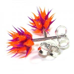 Orange / Purple Silver Earrings Ear Pair Studs w/ Biocompatible Silicone Spikes