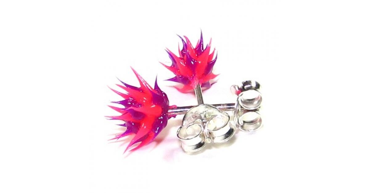 boucles d 39 oreille pas cher argent silicone biocompatible piques rose violet. Black Bedroom Furniture Sets. Home Design Ideas
