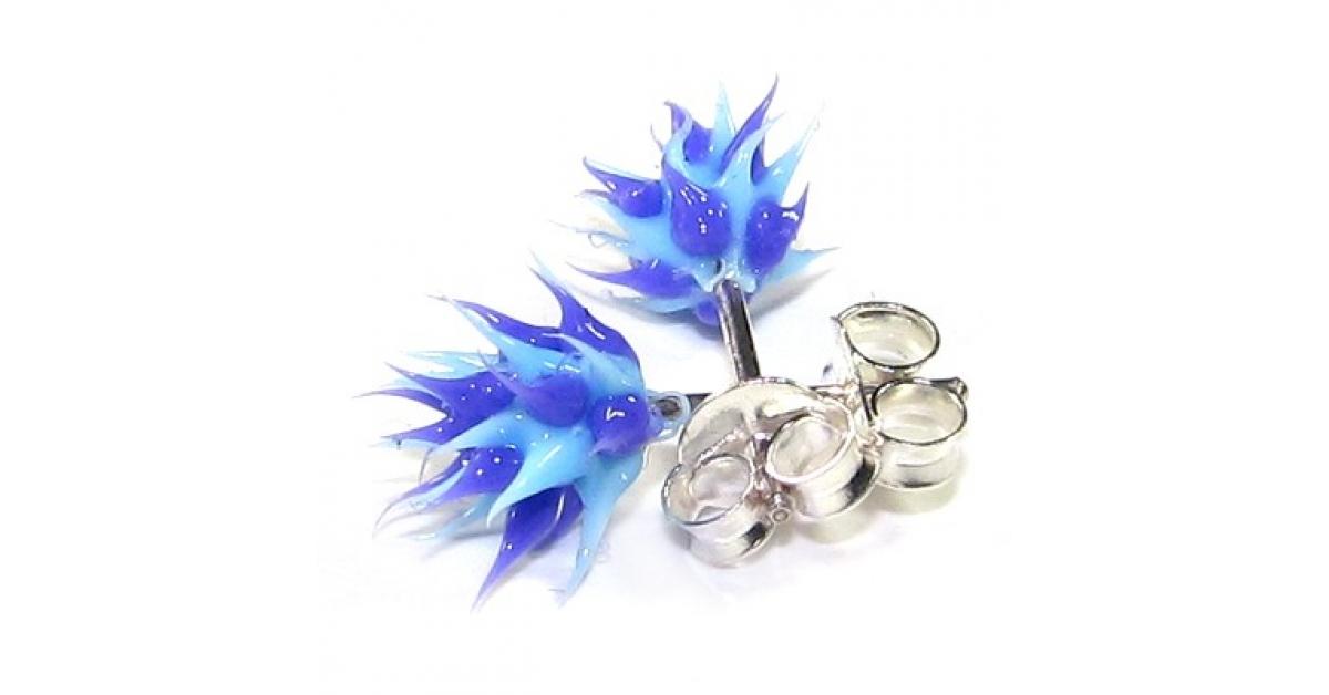 boucles d 39 oreilles pas cher argent silicone biocompatible piques bleu violet. Black Bedroom Furniture Sets. Home Design Ideas
