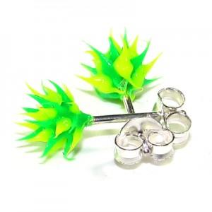 Boucles d'Oreilles pas cher Argent Silicone Biocompatible Piques Vert / Vert