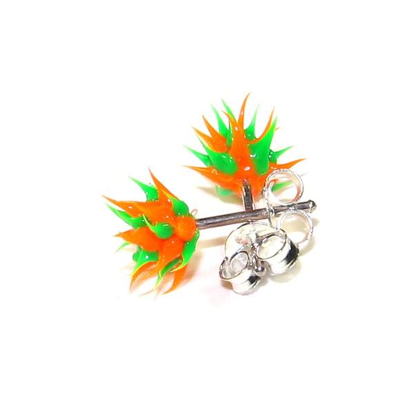 boucles d 39 oreille pas cher argent silicone biocompatible piques orange vert. Black Bedroom Furniture Sets. Home Design Ideas