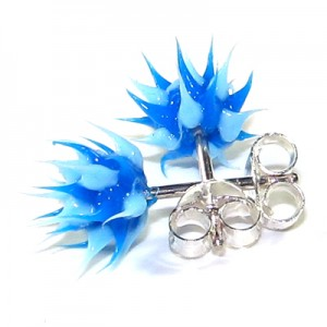 Blue / Blue Silver Earrings Ear Pair Studs w/ Biocompatible Silicone Spikes