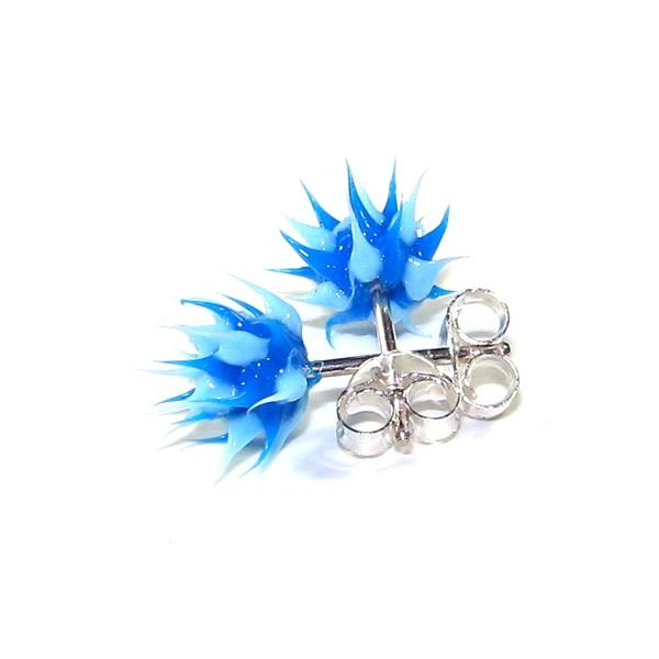 boucles d 39 oreille pas cher argent silicone biocompatible piques bleu bleu. Black Bedroom Furniture Sets. Home Design Ideas