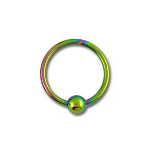 Labret Grade 23 Titanium Ball Closure Ring w/ Rainbow Anodization