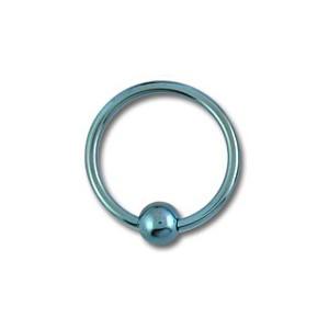 Piercing Labret / Anillo Titanio Grado 23 Anodizado Azul Claro cierre Bola