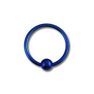Piercing Labret / Anillo Titanio Grado 23 Anodizado Azul Marino cierre Bola