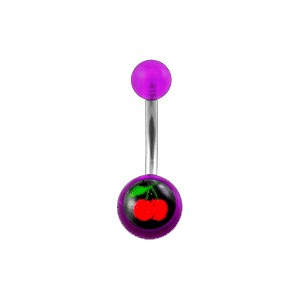Transparent Purple Acrylic Belly Bar Navel Button Ring w/ Cherries