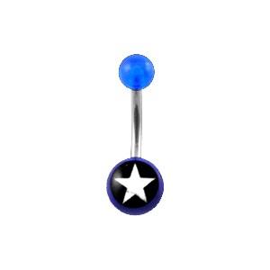 Piercing Nombril Acrylique Transparent Bleu Foncé Etoile Blanche