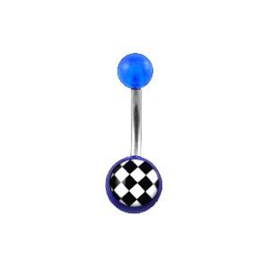 Piercing Nombril pas cher Acrylique Transparent Bleu Foncé Damier