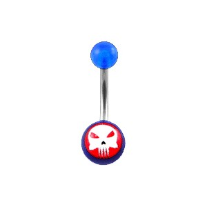 Piercing Nombril pas cher Acrylique Transparent Bleu Foncé The Punisher