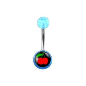 Bauchnabelpiercing Acryl Transparent Hellblau Kirschen
