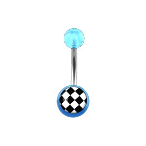 Piercing Nombril pas cher Acrylique Transparent Bleu Clair Damier