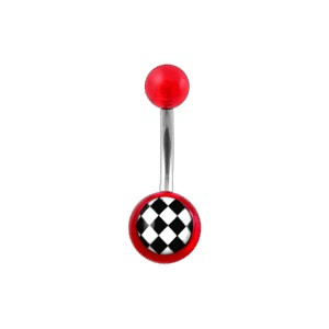 Transparent Red Acrylic Belly Bar Navel Button Ring w/ Checkerboard