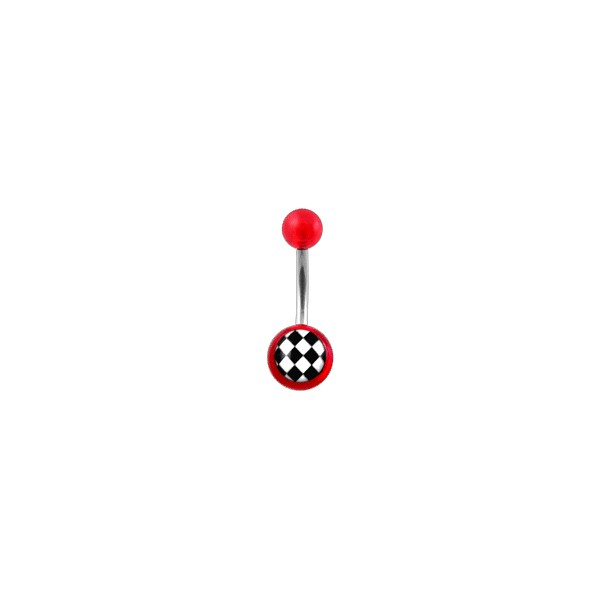 Transparent Red Acrylic Belly Bar Navel Button Ring W Checkerboard