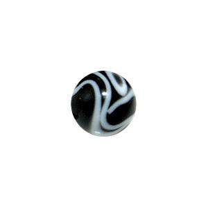Boule de Piercing Acrylique Noire UV Marbrée