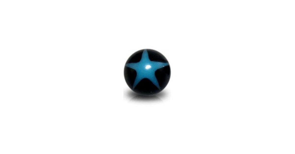 boule de piercing acrylique uv etoile bleue clair noir. Black Bedroom Furniture Sets. Home Design Ideas