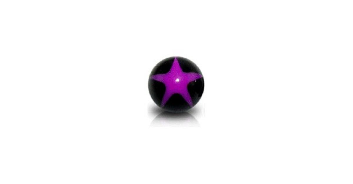 boule de piercing acrylique uv etoile violette noir. Black Bedroom Furniture Sets. Home Design Ideas