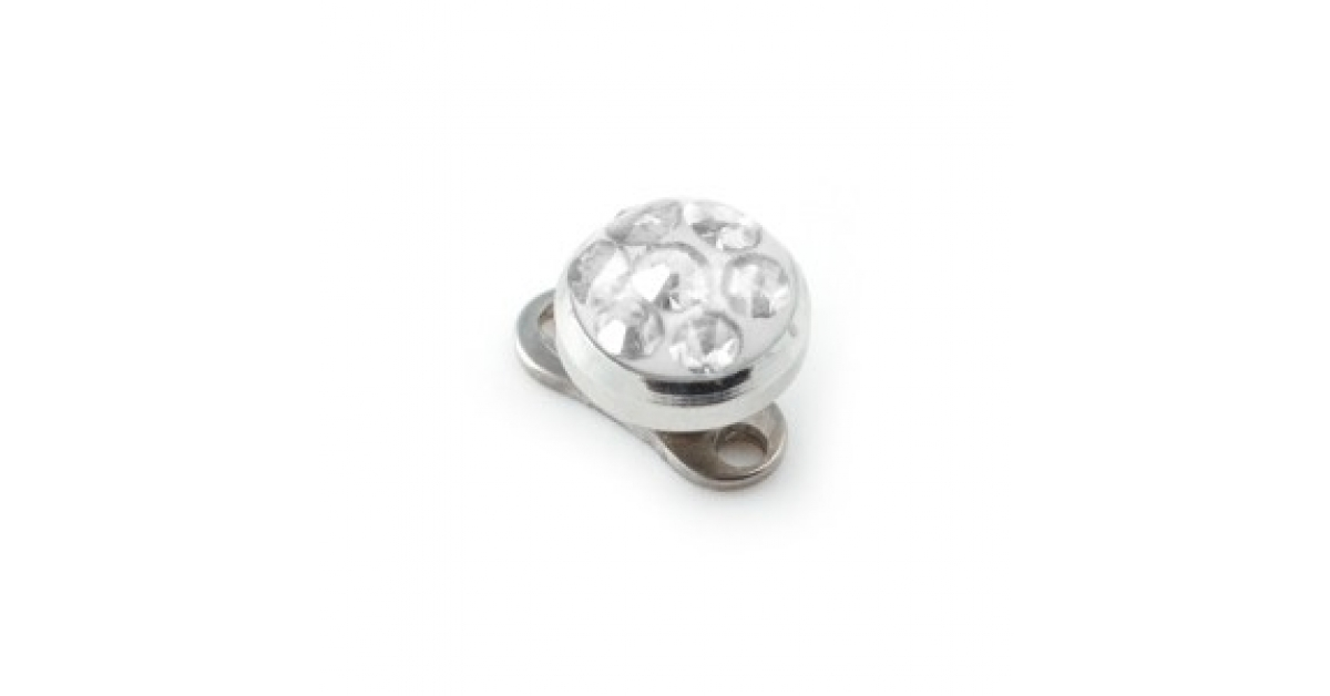 White Round Crystal Swarovski Top For Microdermal Piercing