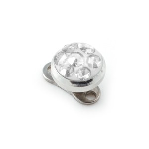Rond Swarovski Cristal Blanc pour Piercing Microdermal