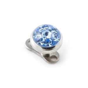 Rond Strass Cristal Bleu Ciel pour Piercing Microdermal