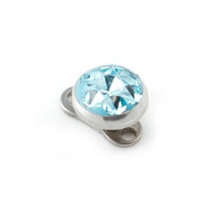 Rond Strass Cristal Bleu Turquoise pour Piercing Microdermal