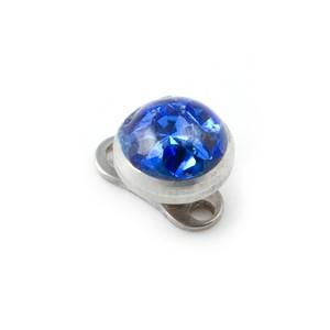Rond Strass Cristal Bleu Marine pour Piercing Microdermal