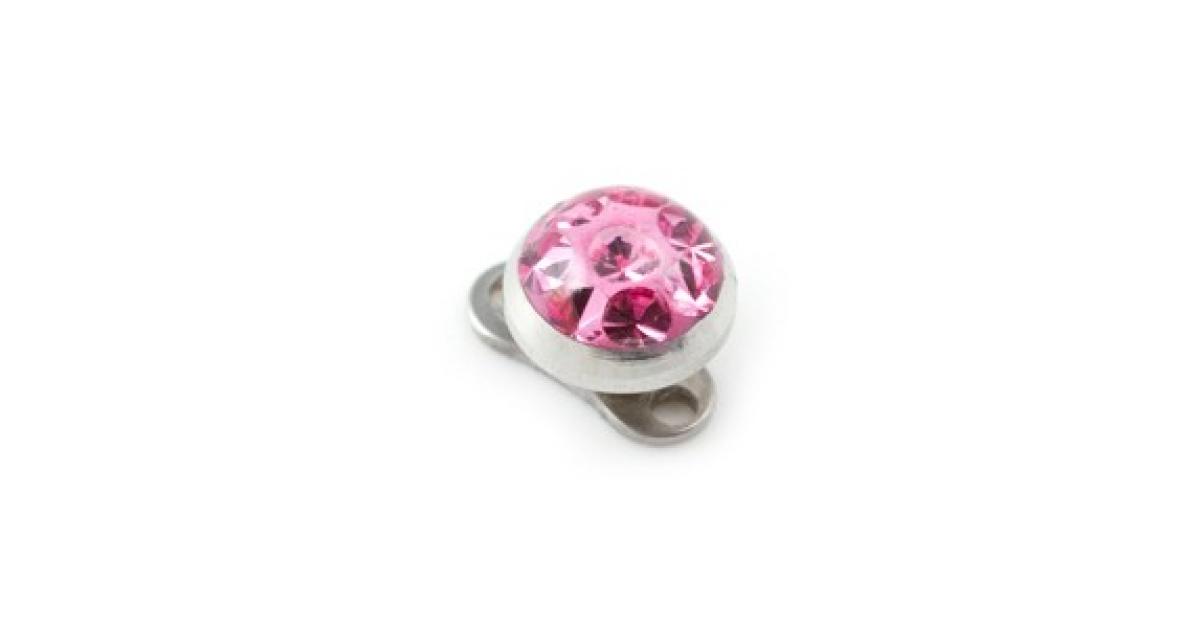Pink Round Crystal Swarovski Top For Microdermal Piercing