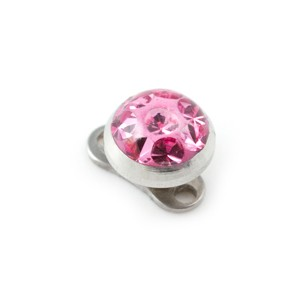 Rond Strass Cristal Rose pour Piercing Microdermal