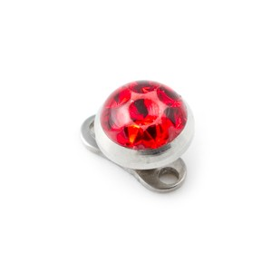 Red Round Crystal Strass Top for Microdermal Piercing