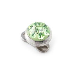 Redondo Strass Cristal Verde para Piercing Microdermal