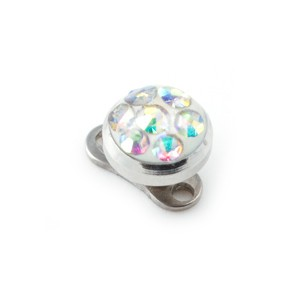 Rond Strass Cristal Multicolore pour Piercing Microdermal