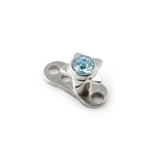 Etoile Strass Bleu Turquoise pour Piercing Microdermal pas cher