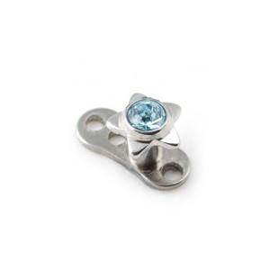 Strassstein Stern Türkisblau für Microdermal Piercing / Dermal Anchor