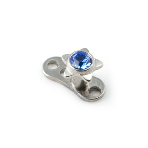 Etoile Strass Bleu Marine pour Piercing Microdermal pas cher