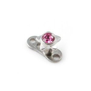 Etoile Strass Rose pour Piercing Microdermal pas cher