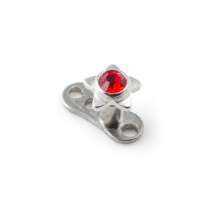 Etoile Strass Rouge pour Piercing Microdermal pas cher